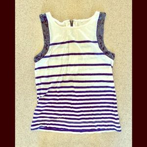 J.Crew Sequence Striped Top Navy White Size Small